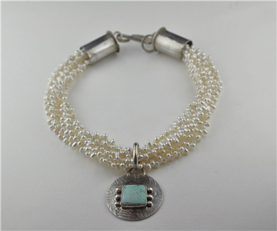 Freshwater pearl necklace with turquoise and silver handcrafted pendant