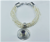 Multi strand pearl necklace sterling silver pendant amethyst handcrafted