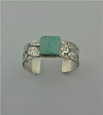 Sterling silver cuff with leaf overlay and square Carico Lake turquoise