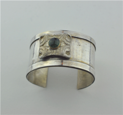 Sterling silver cuff with green tourmaline