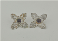 Sterling silver patterned X earring with amethyst handcrafted
