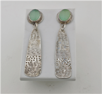 Handcrafted silver and chalcedony earrings