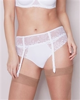 White lace embroidered suspender belt