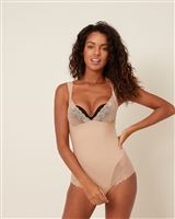 Nude Shaping Bodysuit with v-neckline and lace detail on bust and thighs