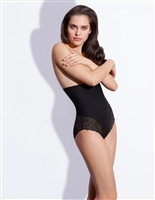 Black high waist shaping brief comes right up to the bra line, while the back and thighs feature lace