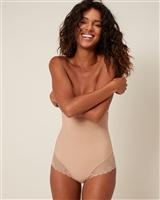 Nude high waist shaping brief comes right up to the bra line, while the back and thighs feature lace