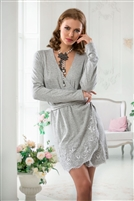 Long sleeve grey wrap around cardigan with lace detail on bottom and tie for around the waist.