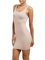 Nude mid thigh length scoop neck semi-control slip