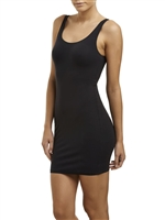 Black mid thigh length scoop neck semi-control slip