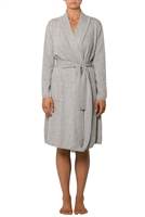 Soft and luxurious grey cashmere robe with pockets and tie for around the waist
