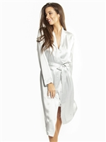 This beautiful silver birch silk robe features a wrap-around style that falls below knee length
