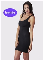 Black microfibre shaping slip that is reversible with scoop and V neck front/back.