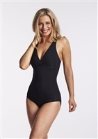 Black microfibre lightweight shaping bodysuit with no cup underwire for an easy fit