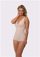Nude microfibre lightweight shaping bodysuit with no cup underwire for an easy fit