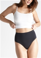 Black ultralight seamless high waist shaping thong