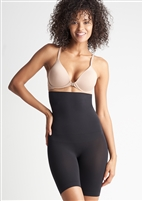Black high waist thigh shaper that sits under the bra and has a comfortable side-seam free construction