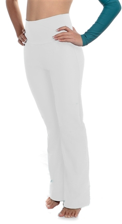 White High Waist Dance Pants (Lycra) - 200  Colors