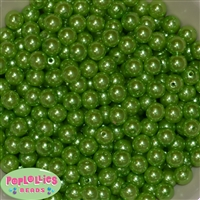 10mm Lime Green Faux Pearl Beads