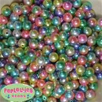 10mm Rainbow Multi Color Faux Pearl Beads