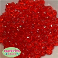 12mm Clear Red Abacus Acrylic Beads