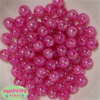 12mm Hot Pink Crackle Beads
