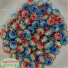 12mm Rainbow Stripe Rhinestone Beads 40 pc