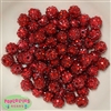 12mm Red Rhinestone Beads 40 pc