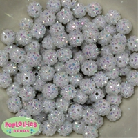 12mm White Rhinestone Beads 40 pc