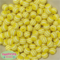12mm Yellow Stripe Beads 40 pc