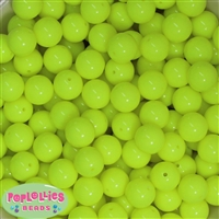 14mm Neon Yellow Acrylic Beads