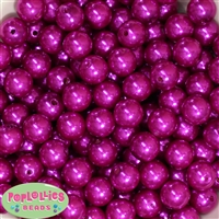 14mm Bright Pink Faux Pearl Acrylic Beads