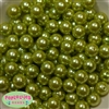 14mm Light Olive Green Faux Pearl Acrylic Beads