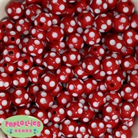 14mm Red Polka Dots 20 pack