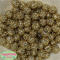 Bulk 14mm Gold Rhinestone Beads