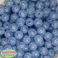 16mm Baby Blue Crackle Beads