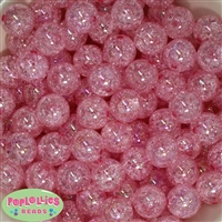 16mm Pink Crackle Gumball Beads