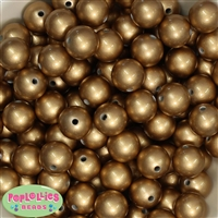 16mm Matte Gold Faux Pearl Acrylic Beads