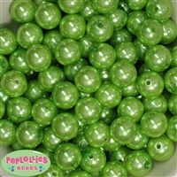 16mm Lime Green Faux Pearl Acrylic Beads