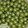 Bulk 16mm Light Olive Green Faux Pearl Beads
