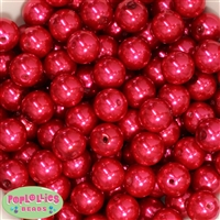 16mm Red Faux Pearl Acrylic Beads