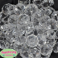 22mm Clear Abacus Bubblegum Beads