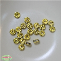 8mm Gold Tone Rhinestone Rondelle Spacers
