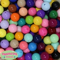 20mm Mix Color Solid Bubblegum Beads 200pc