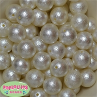 20mm Cream Crinkle Faux Pearl Beads