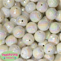 20mm White Disco Bubblegum Beads