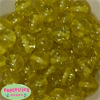 20mm Yellow Glitter Beads