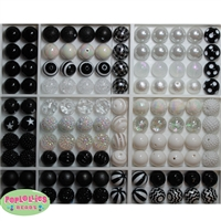 Bulk Mix of Black and White Bubblegum Beads