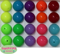 Mixed Color 20mm Neon Bubblegum Beads 20pc
