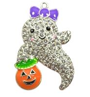 Trick or Treat Ghost Rhinestone Pendant