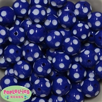 20mm Royal Blue Polka Dot Beads